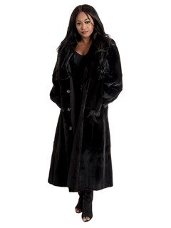 Women's Black Sheared Mink Fur Coat Reversible to Black Taffeta
