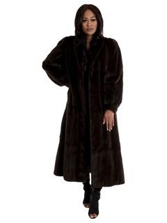 Women's Brown Sheared Mink Fur Coat Reversible to Taffeta