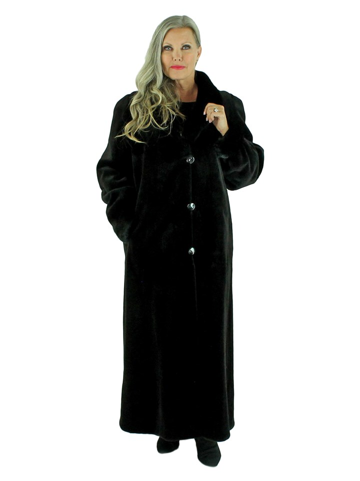 Woman's Black Sheared Mink Fur Coat Reversible to Rain Fabric