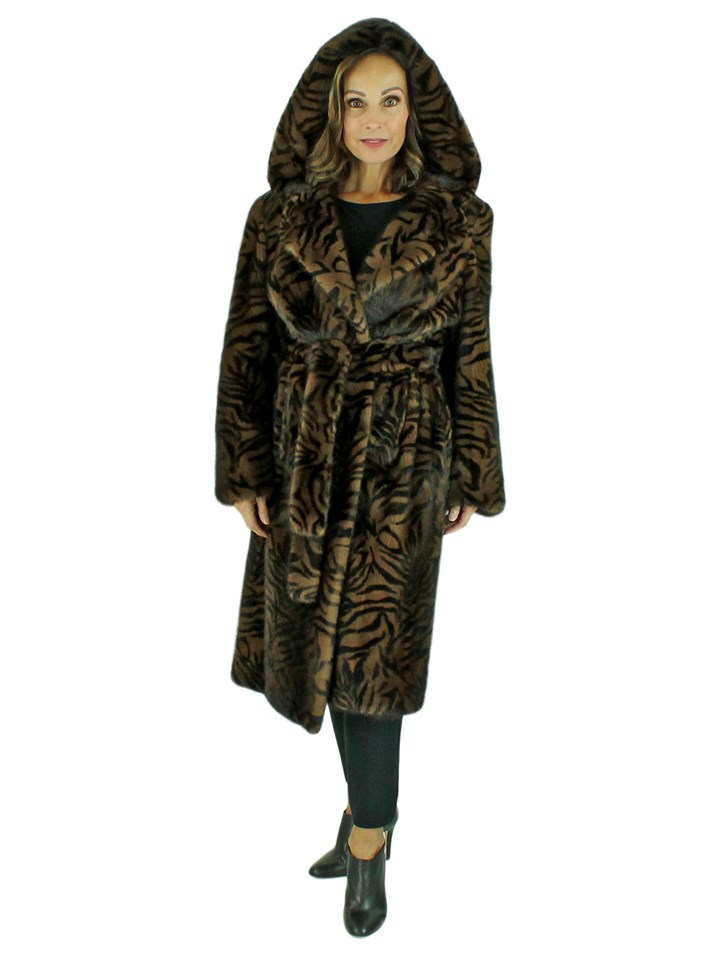 Woman's Scanglow Mink Fur 7/8 Coat with Stenciled Zebra Print