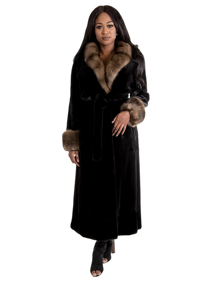Women's Semi Sheared Ranch Mink Fur Coat with Sable Collar & Cuffs