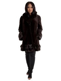 Women's Dark Brown Sheared Mink Fur Stroller