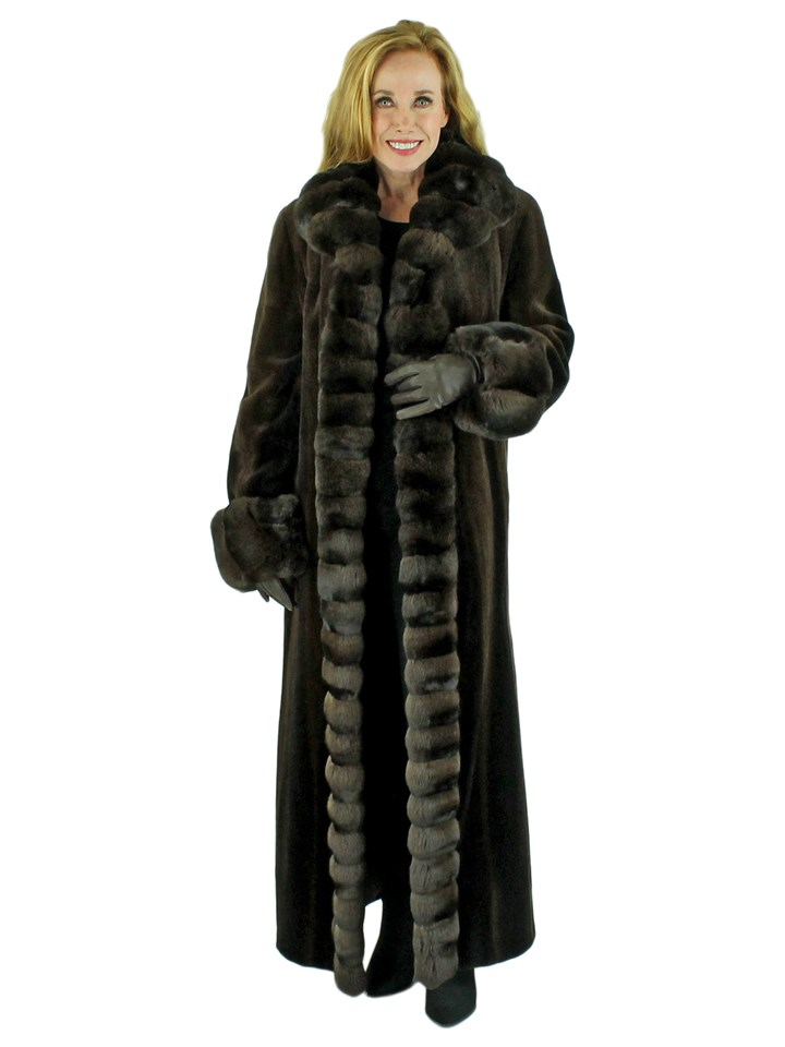 Woman's Brown Degrade Sheared Mink Fur Coat