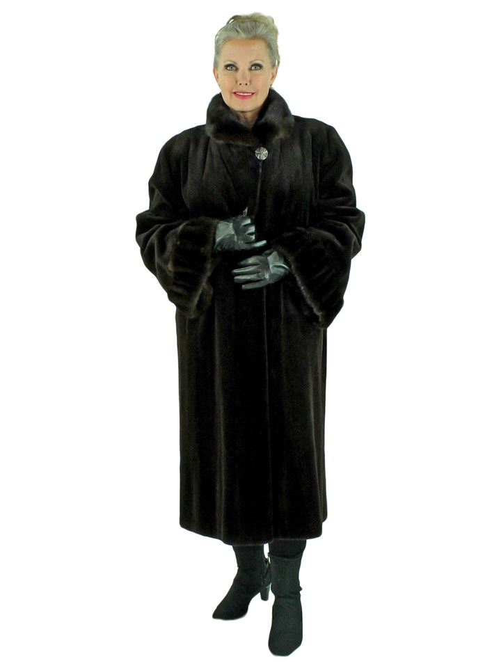 Woman's Dark Brown Sheared Mink Fur 7/8 Coat