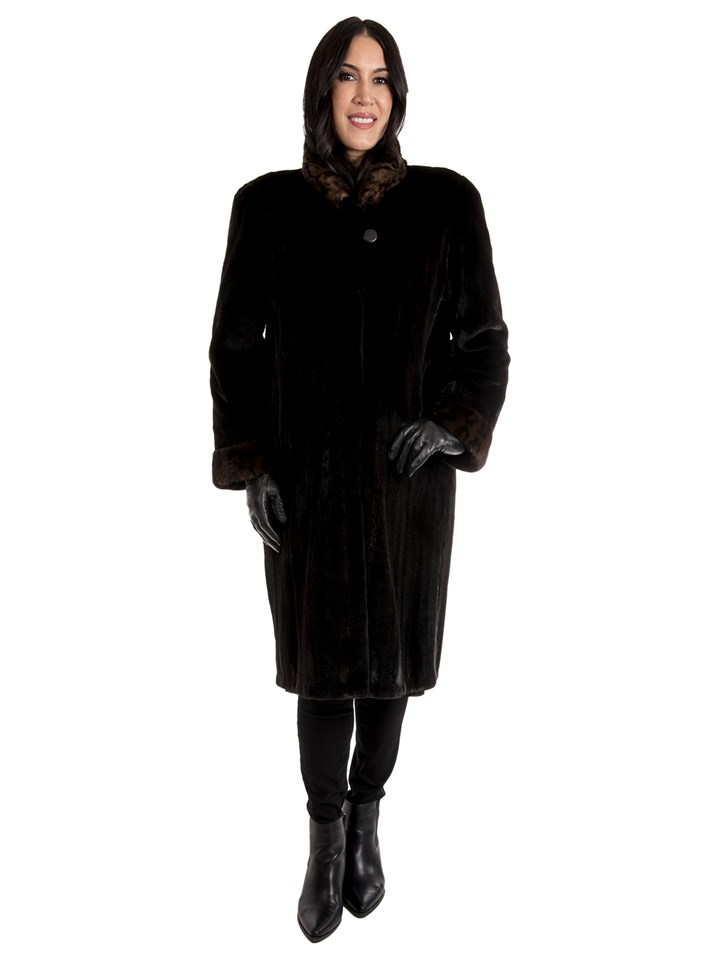 Women's Black Sheared Mink Fur Coat