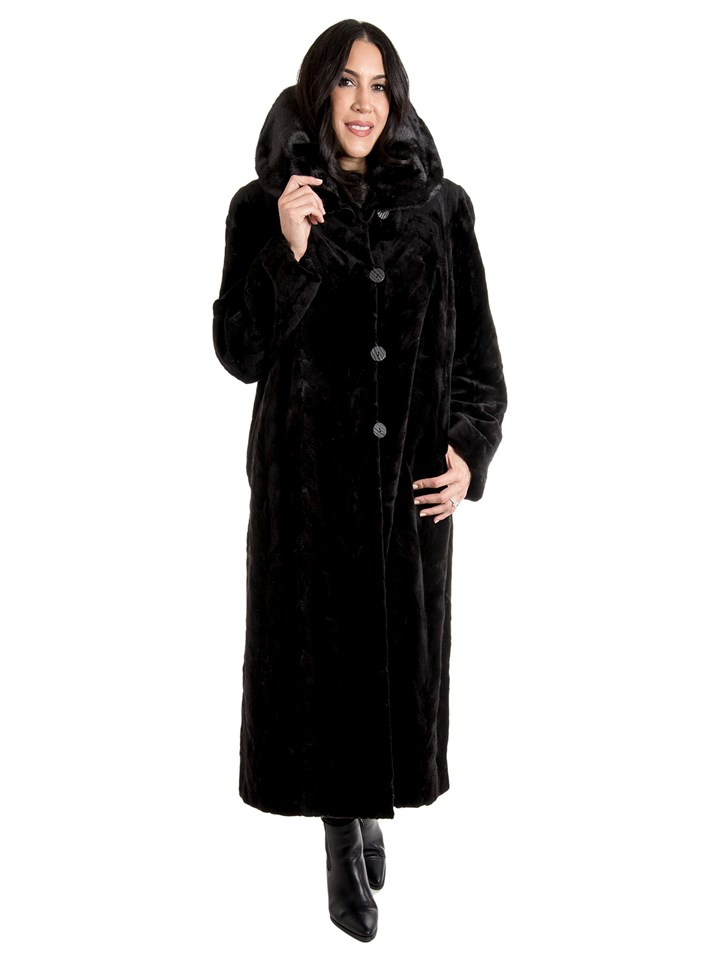 Women's Black Sheared Mink Fur Coat Reversible to Rain Taffeta