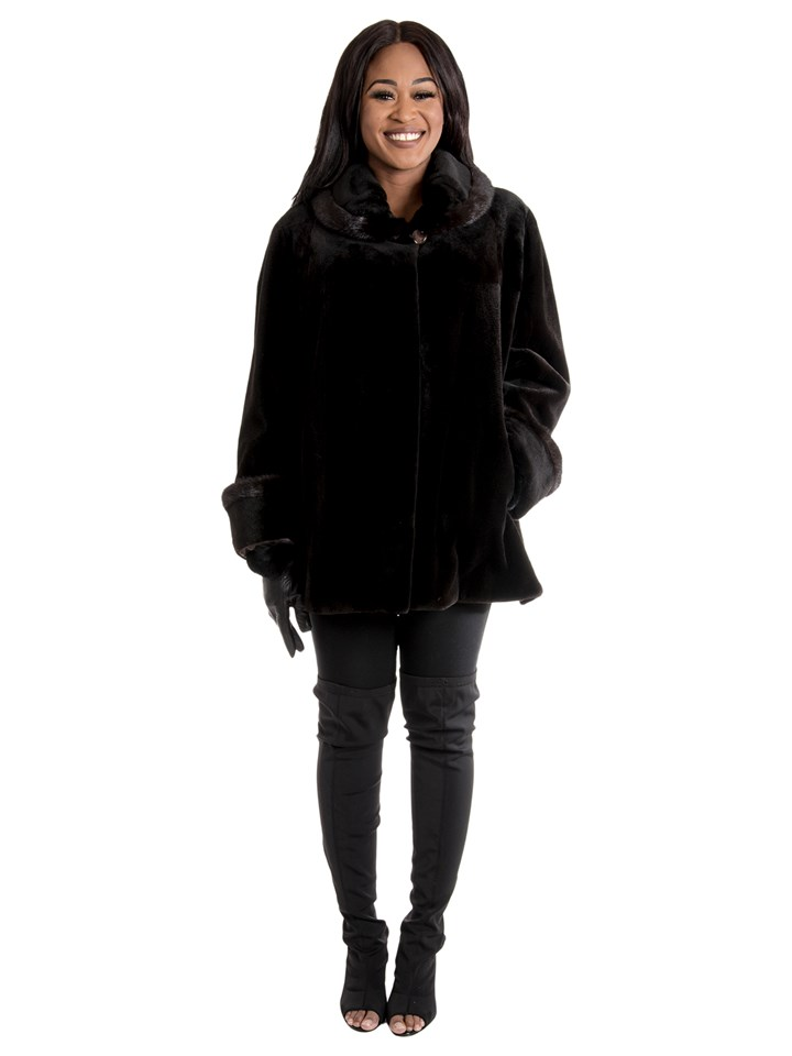 Women's Brown Sheared Mink Fur Jacket Reversible to Rain Taffeta