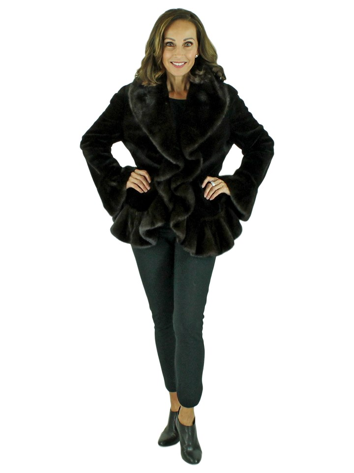 Woman's Dark Brown Sheared Mink Fur Jacket