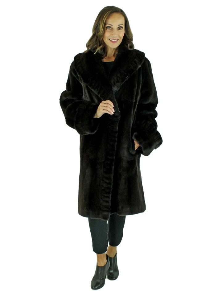 Woman's Dark Brown Sheared Mink 7/8 Coat Reversible to Rain Fabric