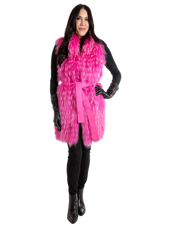 Women's Neon Pink Finnish Racoon Fur Vest