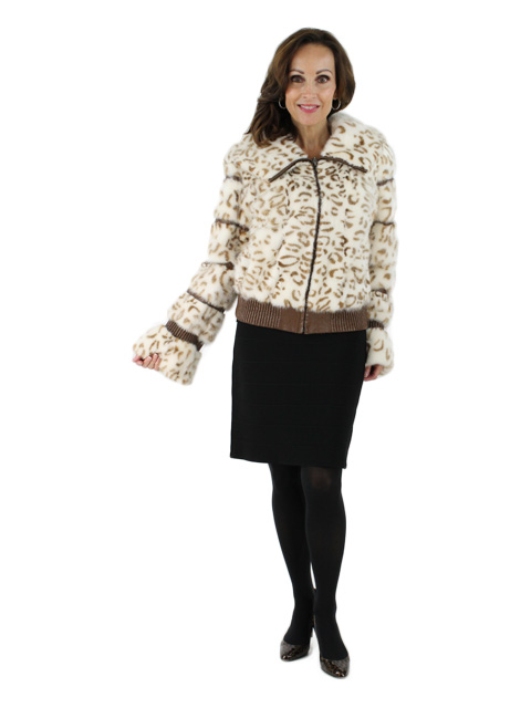 White/Beige Mink Parka Jacket with Leather Detail and Mink Hood