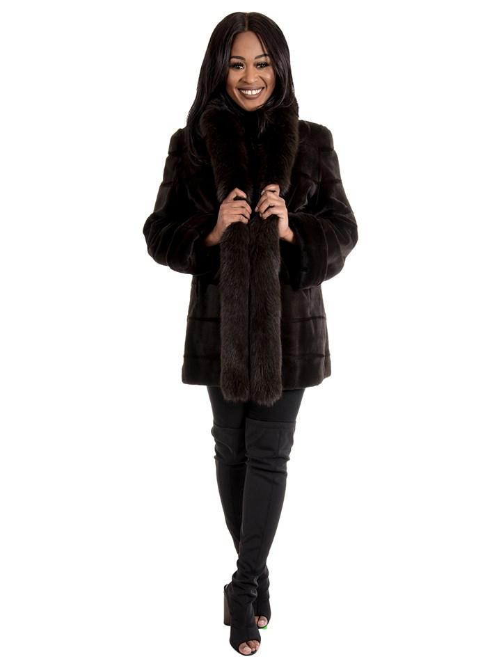 Women's Dark Brown Sheared Mink Fur Stroller Reversible to Rain Taffeta