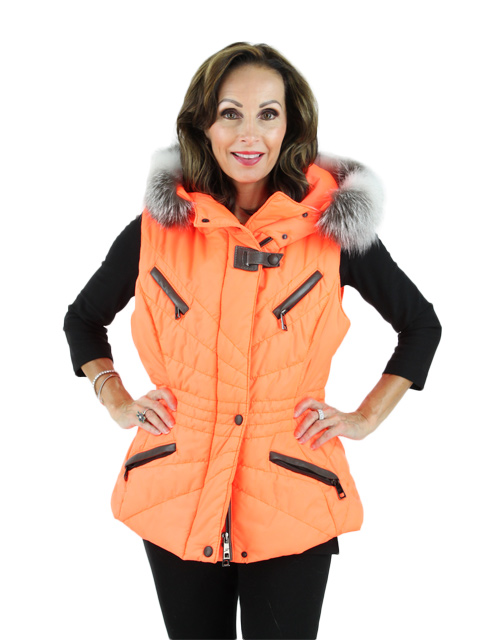 Gorski Woman's Fluo Arancia Fabric Vest with Fox Trim