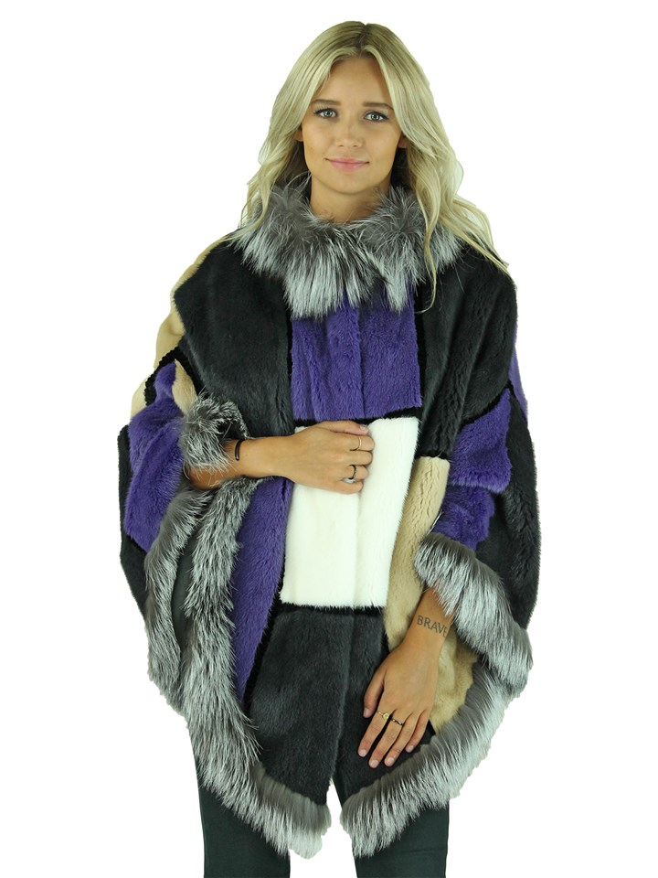 Woman's Multicolored Mink Fur Cape