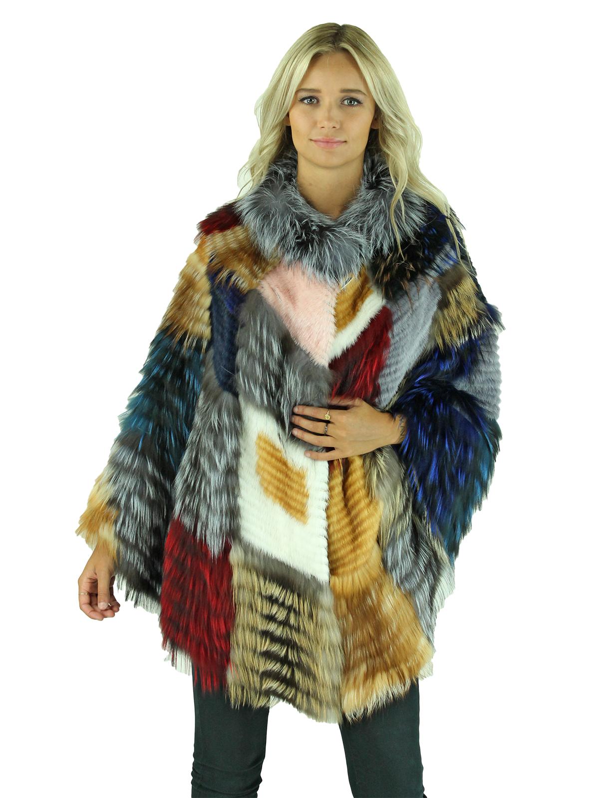 Woman's Multicolored Fox and Mink Fur Cape