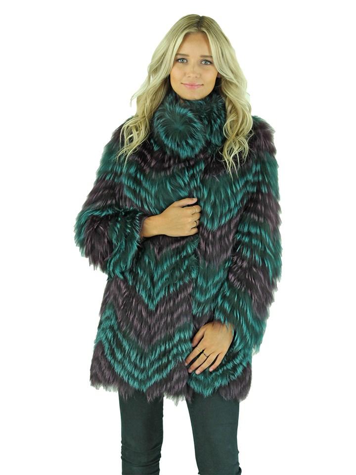 Woman's Purple and Teal Fox Fur Stroller