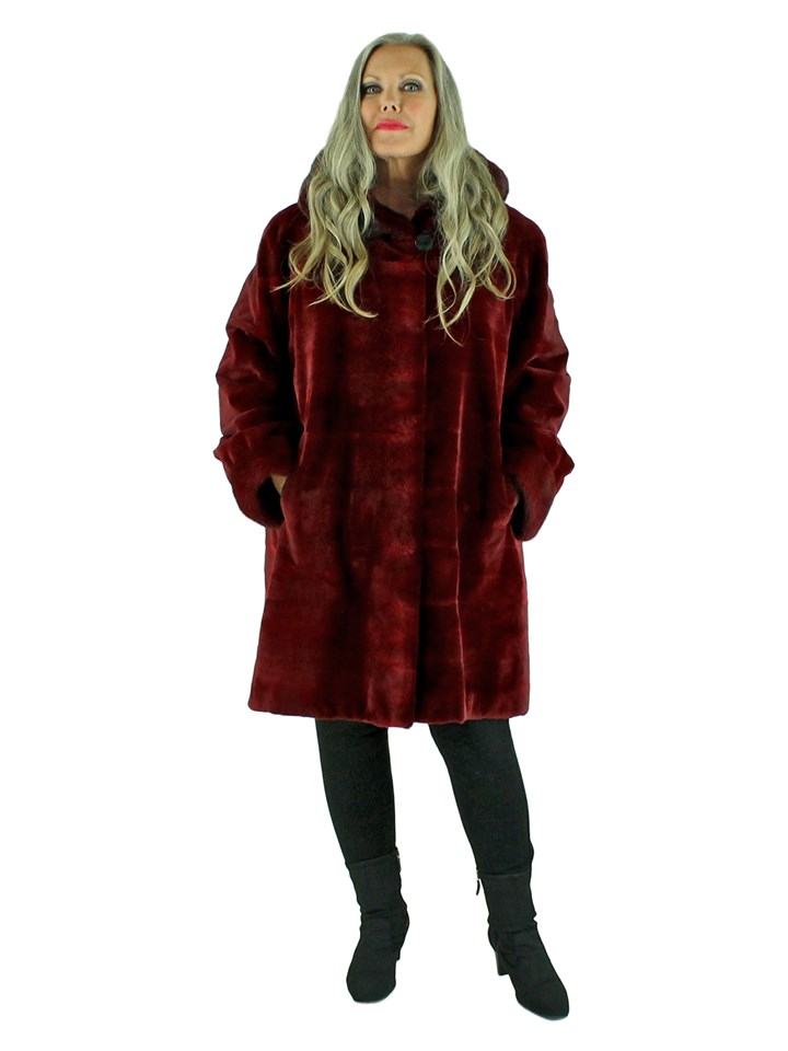 Woman's Burgundy Sheared Mink Hooded Fur Stroller Reversible to Rain Fabric