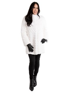 Women's White Rex Rabbit Fur Stroller