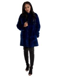 Women's Royal Blue Rex Rabbit Fur Stroller