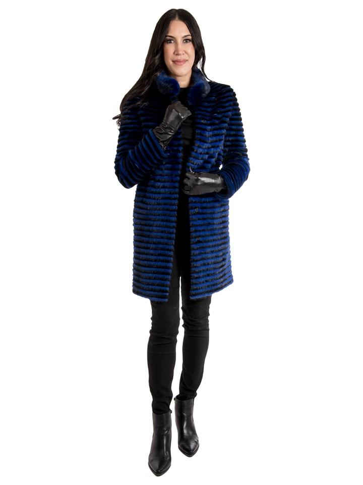 Women's Blue Mink Fur Stroller; Reversible to Wool