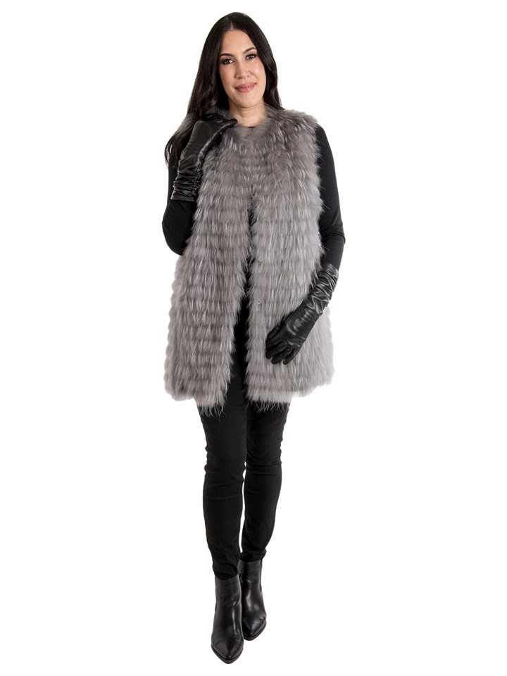 Women's Dyed Finnish Raccoon Fur Vest; Reversible to Down