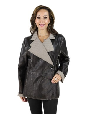 Woman's Brown Leather and Knit Jacket