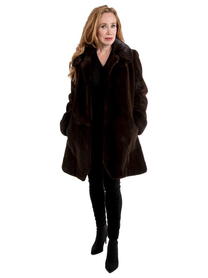 Women's Brown Sheared Mink Fur Stroller