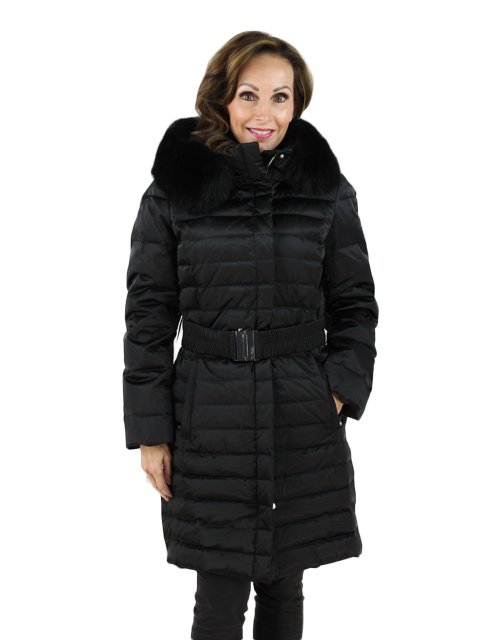 Black Ski Garment Parka with Fox Hood