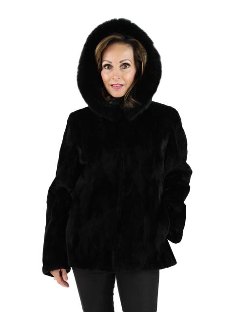 Black Sheared Mink Parka