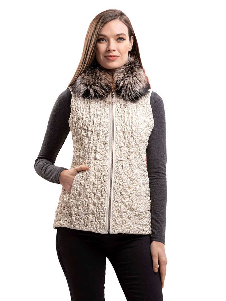 Woman's New Ice Brown Bubble Stretch Leather Vest