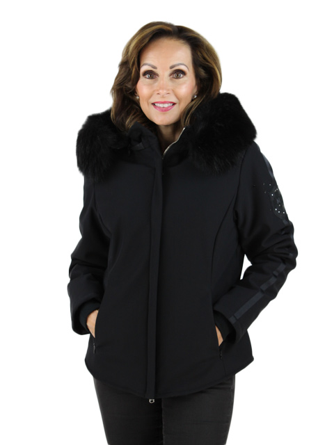 Black Fabric Jacket with Fox Hood