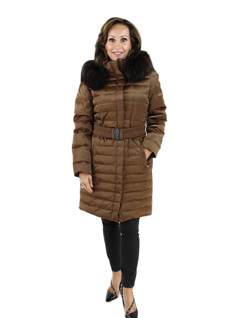 Woman's Copper Fabric Coat with Belt and Finn Raccoon Hood