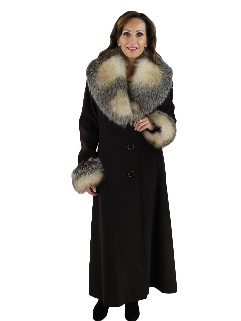 Chocolate Cashmere Coat with Fox Cuffs and Detachable Fox Collar