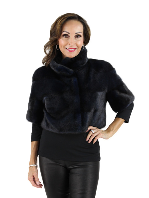 Navy Bolero Mink Fur Jacket