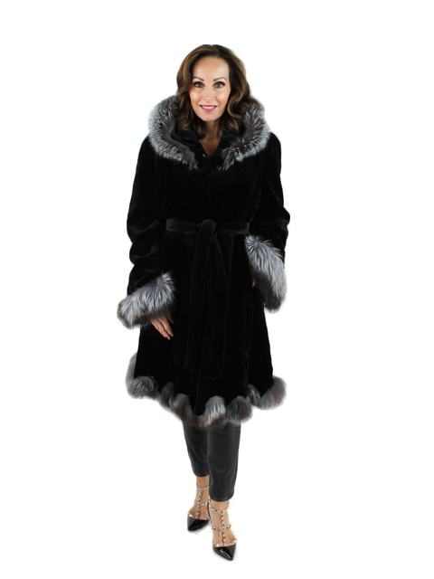 Sheared Mink with Silver Fox 7/8 Coat