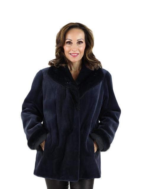 Ocean Blue Sheared Mink Fur Jacket