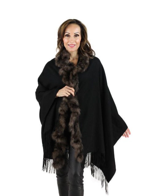 Black Brown Cashmere Sable Stole