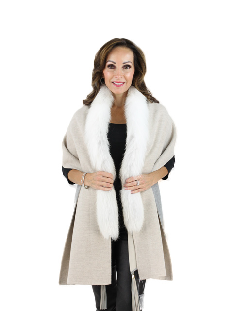 Ivory Fawn Wool Fox Capelet