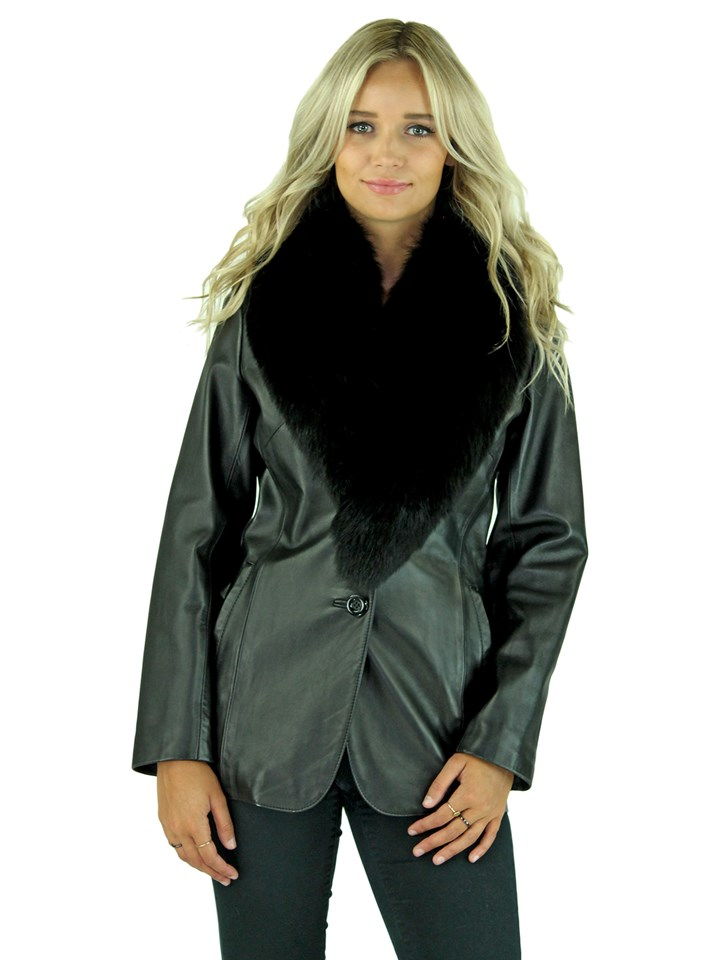 Woman's Petite Black Lambskin Leather Jacket