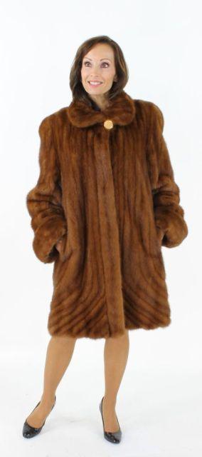 Stunning Cognac Mink Stroller with Directional Fur at Hem