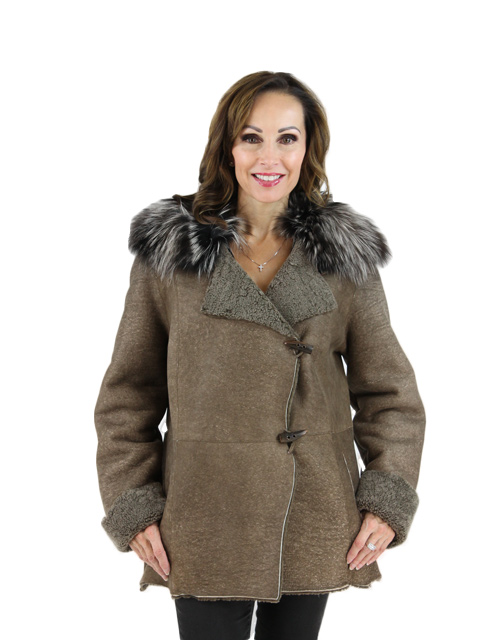 Brown Stone Shearling Jacket