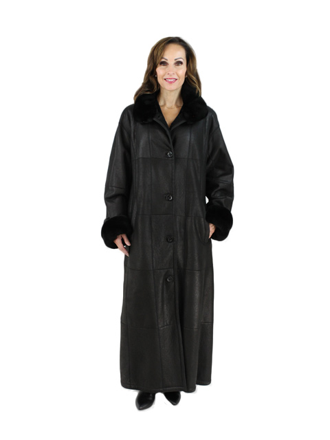 Black Shearling Nutria Coat