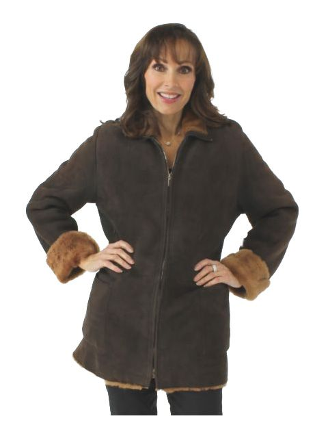 Light weight Italian Soft and Supple Brown Shearling Lamb Jacket