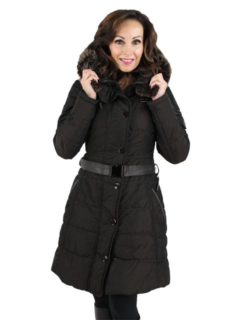 Gorski Espresso Apres Woman's Fabric Ski Jacket with Fox Trimmed Hood
