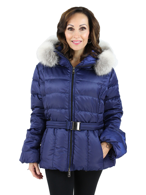 Gorski Glam Blue Quilted Parka with Fox Trimmed Hood