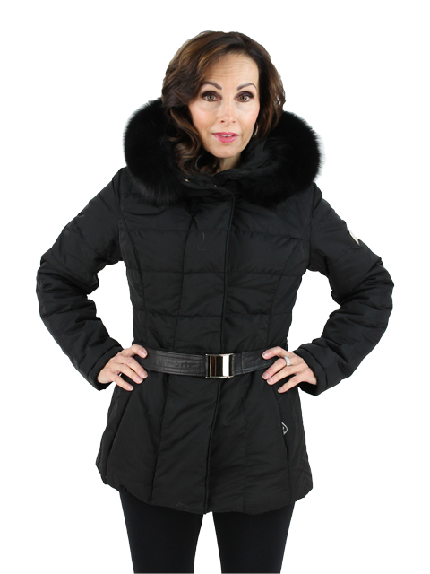 Gorski Woman's  Black Apres Ski Jacket with Black Fox Trimmed Hood