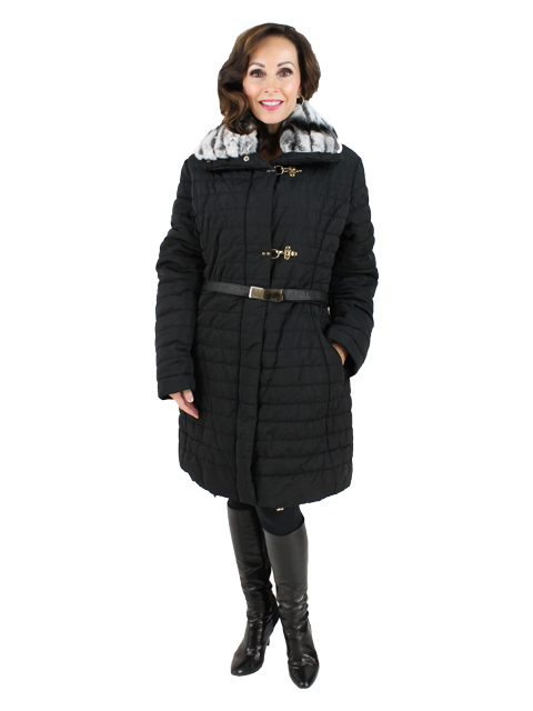 Gorski Black Woman's Apres-Ski Quilted Fabric Jacket with Rabbit Collar