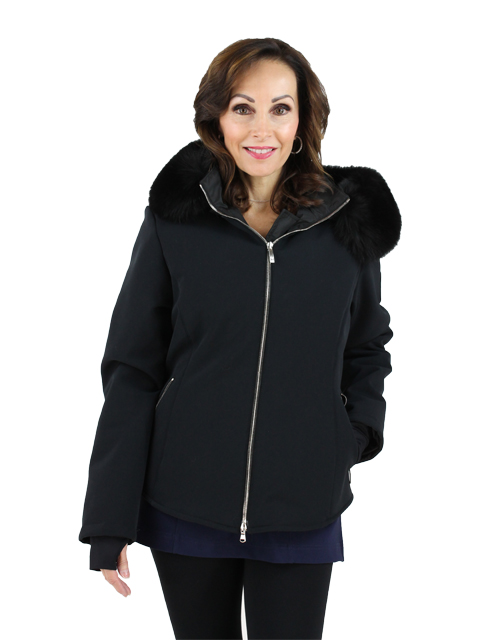 Woman's Black Fabric Ski Parka with Fox Trimmed Hood