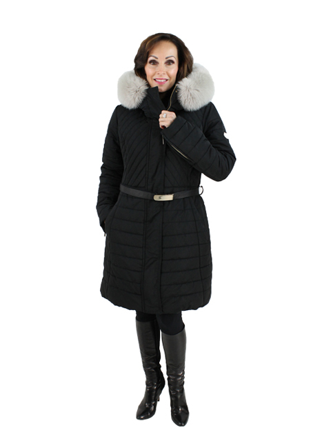Gorski Woman's  Black Apres-Ski Quilted Fabric Jacket with Fox Trimmed Hood