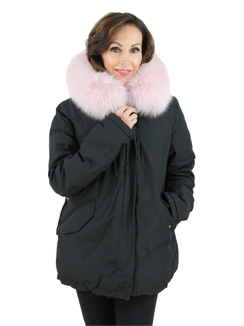 Gorski Woman's  Black Apres-Fabric Ski Jacket with Pink Fox Trimmed Hood